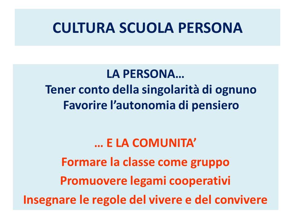 CULTURA SCUOLA PERSONA LA PERSONA… Tener conto della singolarità di ognuno Favorire lautonomia di pensiero … E LA COMUNITA Formare la classe come grup