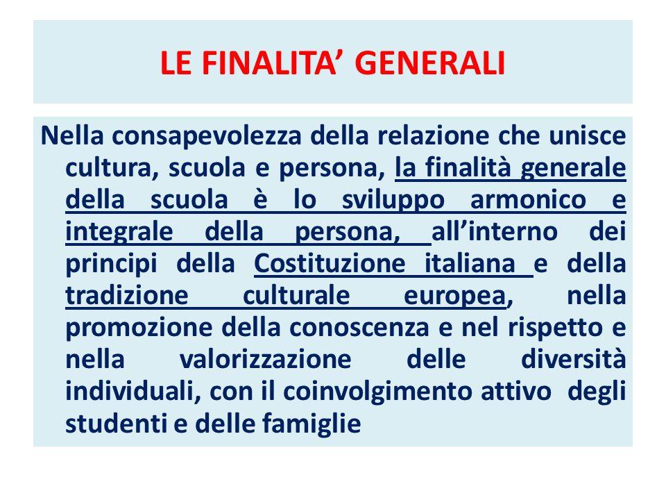 LE FINALITA GENERALI Nella consapevolezza della relazione che unisce cultura, scuola e persona, la finalità generale della scuola è lo sviluppo armoni