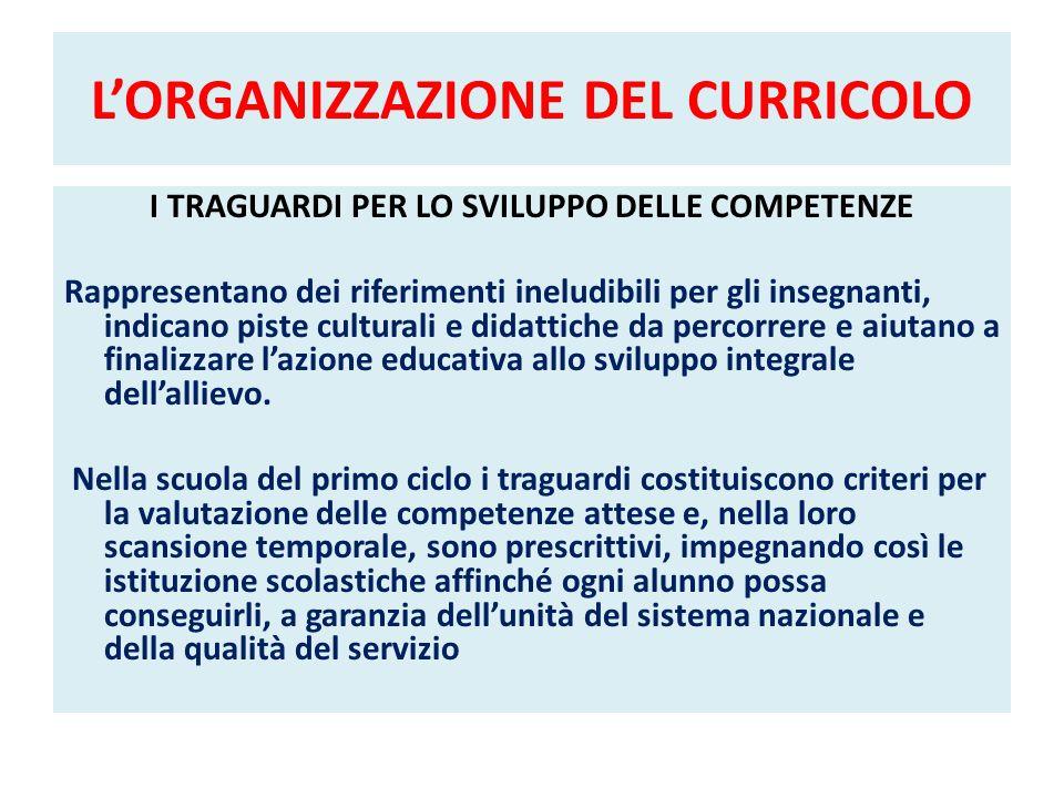 LORGANIZZAZIONE DEL CURRICOLO I TRAGUARDI PER LO SVILUPPO DELLE COMPETENZE Rappresentano dei riferimenti ineludibili per gli insegnanti, indicano pist