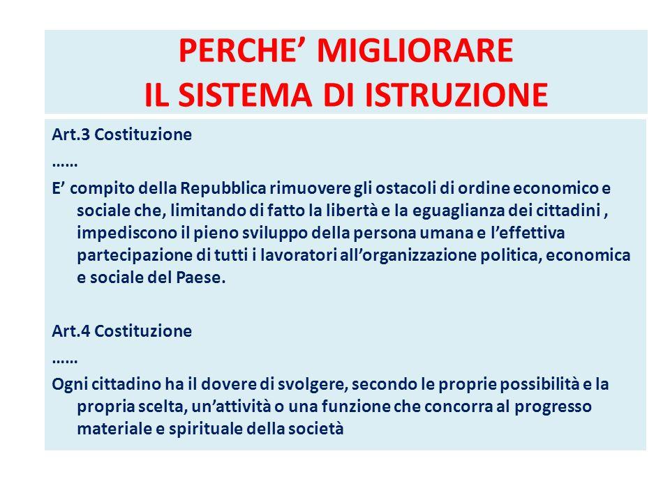 PERCHE MIGLIORARE IL SISTEMA DI ISTRUZIONE Art.3 Costituzione …… E compito della Repubblica rimuovere gli ostacoli di ordine economico e sociale che,