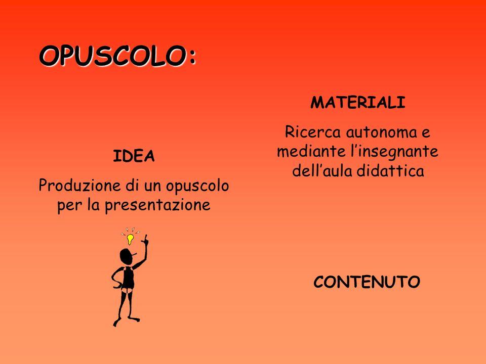OPUSCOLO: IDEA Produzione di un opuscolo per la presentazione MATERIALI Ricerca autonoma e mediante linsegnante dellaula didattica CONTENUTO