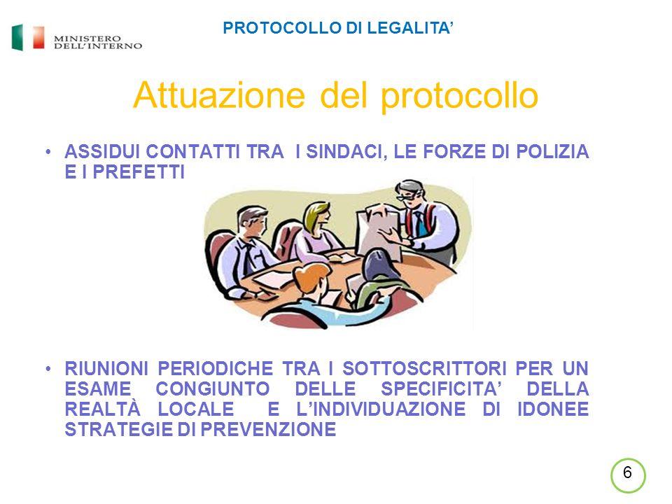 Attuazione del protocollo ASSIDUI CONTATTI TRA I SINDACI, LE FORZE DI POLIZIA E I PREFETTI RIUNIONI PERIODICHE TRA I SOTTOSCRITTORI PER UN ESAME CONGIUNTO DELLE SPECIFICITA DELLA REALTÀ LOCALE E LINDIVIDUAZIONE DI IDONEE STRATEGIE DI PREVENZIONE PROTOCOLLO DI LEGALITA 6