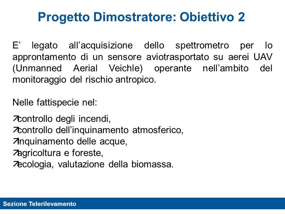 Sezione Telerilevamento Progetto Dimostratore: Obiettivo 2 E legato allacquisizione dello spettrometro per lo approntamento di un sensore aviotrasport