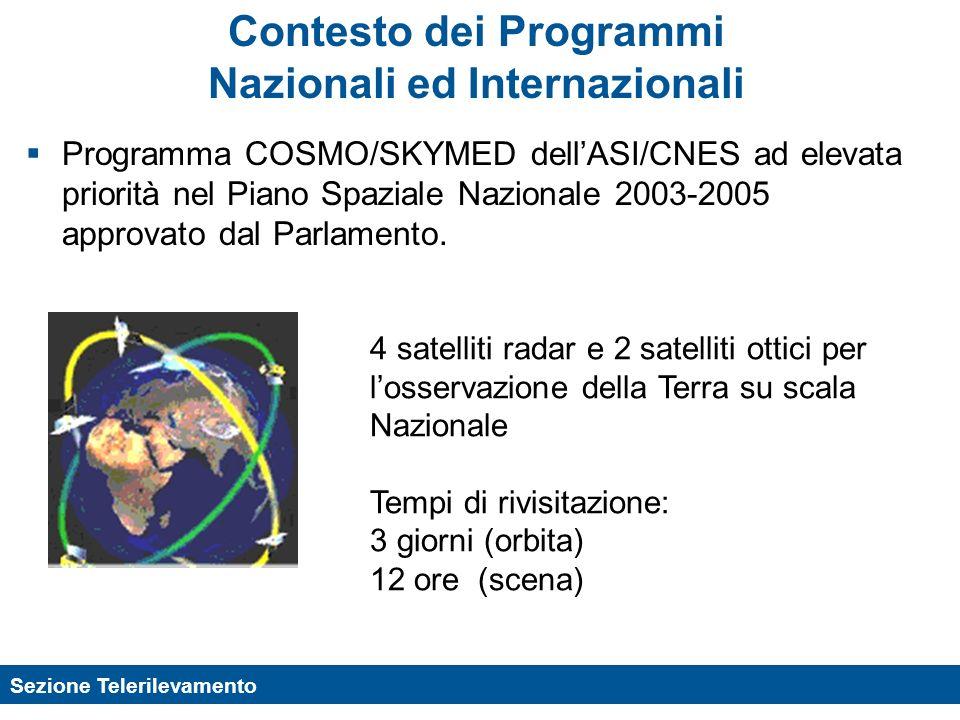 Sezione Telerilevamento Contesto dei Programmi Nazionali ed Internazionali Programma COSMO/SKYMED dellASI/CNES ad elevata priorità nel Piano Spaziale