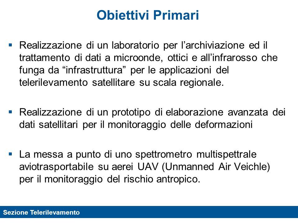 Sezione Telerilevamento Obiettivi Primari Realizzazione di un laboratorio per larchiviazione ed il trattamento di dati a microonde, ottici e allinfrar