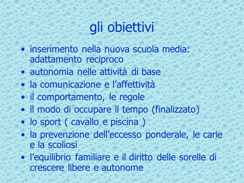gli obiettivi inserimento nella nuova scuola media: adattamento reciproco autonomia nelle attività di base la comunicazione e laffettività il comporta
