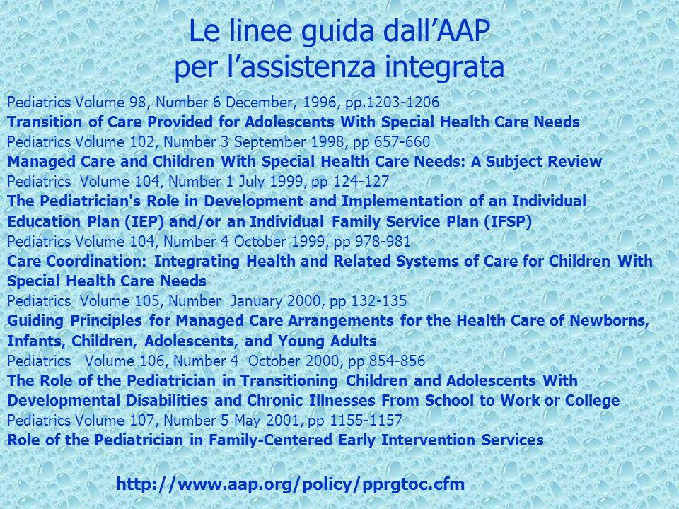 Le linee guida dallAAP per lassistenza integrata Pediatrics Volume 98, Number 6 December, 1996, pp.1203-1206 Transition of Care Provided for Adolescen