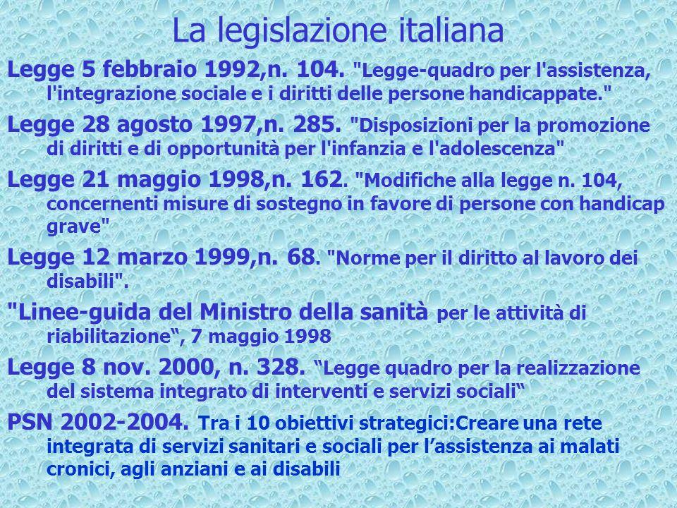 La legislazione italiana Legge 5 febbraio 1992,n. 104.