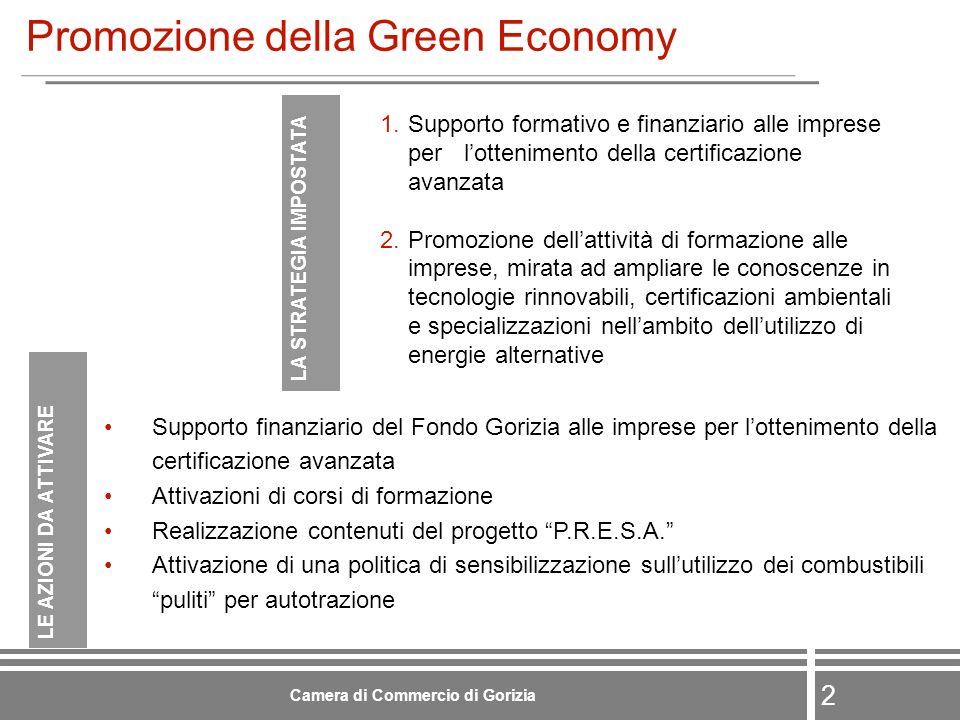2 Camera di Commercio di Gorizia Promozione della Green Economy Supporto finanziario del Fondo Gorizia alle imprese per lottenimento della certificazione avanzata Attivazioni di corsi di formazione Realizzazione contenuti del progetto P.R.E.S.A.