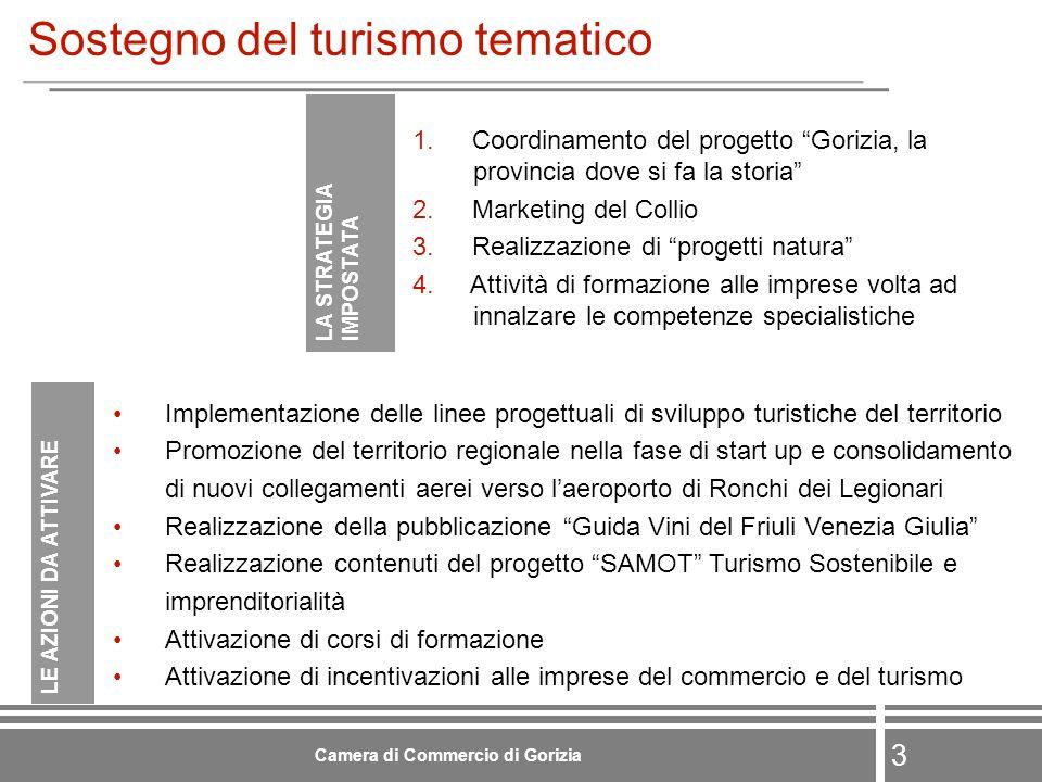 4 Camera di Commercio di Gorizia Valorizzazione della logistica avanzata LA STRATEGIA IMPOSTATA 1.Realizzazione di uno studio per limpostazione di strategie finalizzate allintermodalità dei trasporti 2.