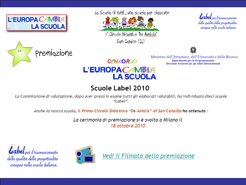 La Commissione di valutazione, dopo aver preso in esame tutti gli elaborati valutabili, ha individuato dieci scuole Label.