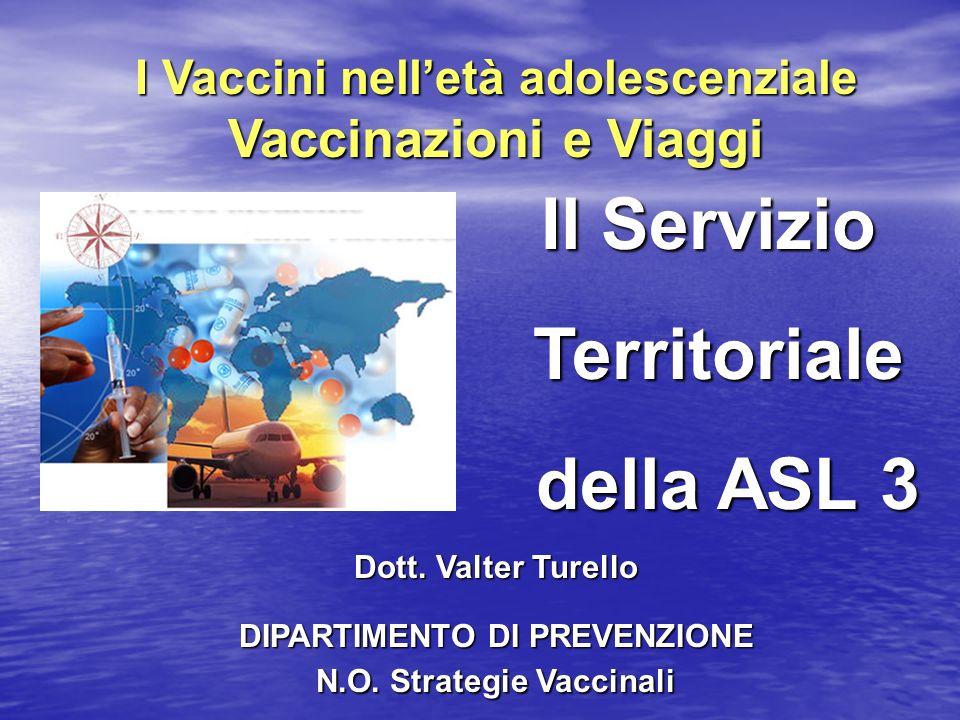 I Vaccini nelletà adolescenziale Vaccinazioni e Viaggi Dott. Valter Turello DIPARTIMENTO DI PREVENZIONE N.O. Strategie Vaccinali Il Servizio Territori