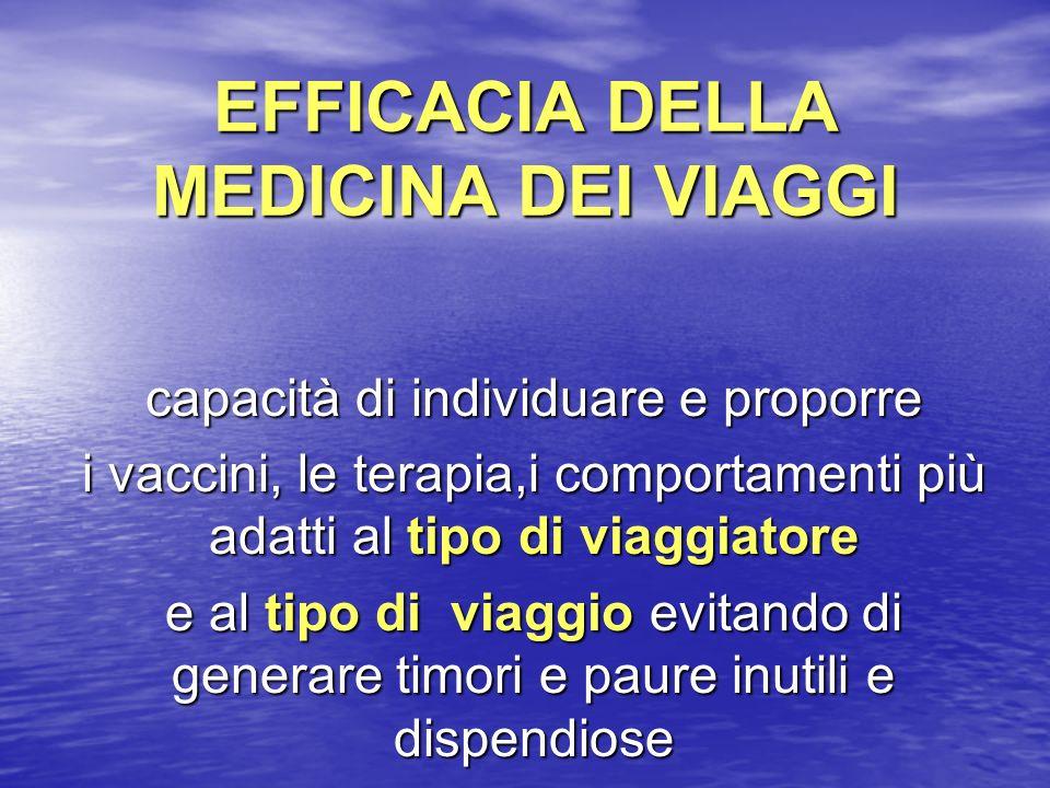 EFFICACIA DELLA MEDICINA DEI VIAGGI capacità di individuare e proporre i vaccini, le terapia,i comportamenti più adatti al tipo di viaggiatore e al ti