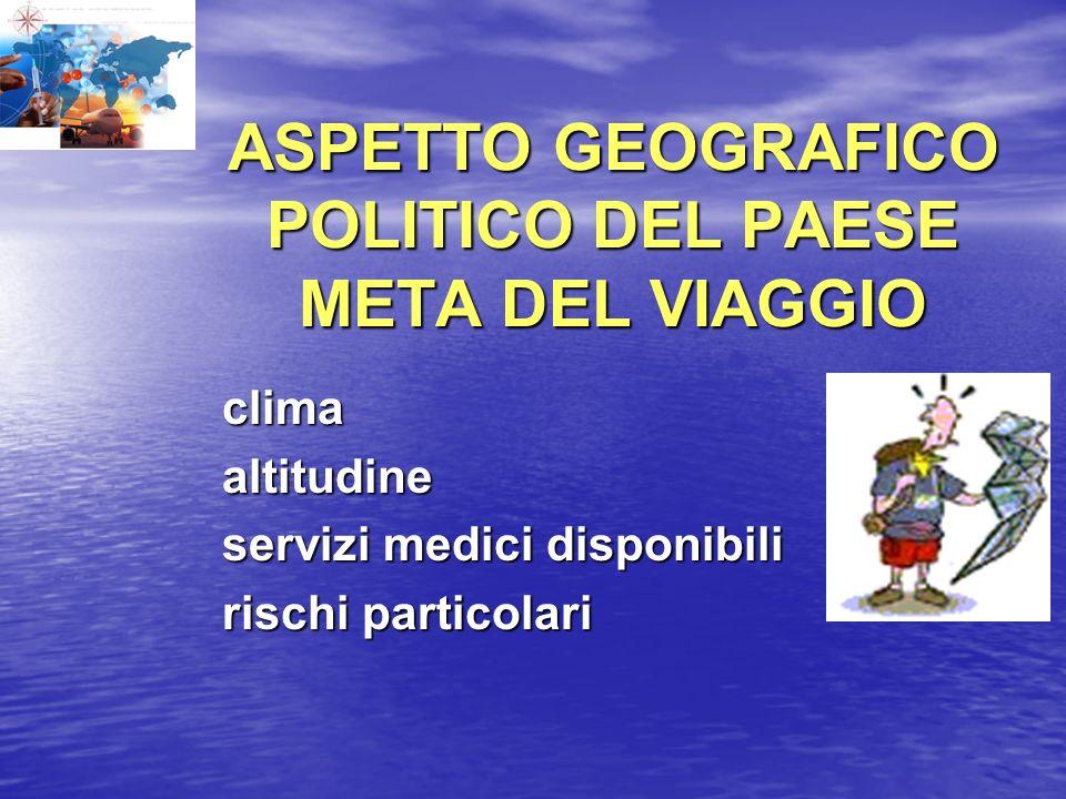 ASPETTO GEOGRAFICO POLITICO DEL PAESE META DEL VIAGGIO clima clima altitudine altitudine servizi medici disponibili servizi medici disponibili rischi