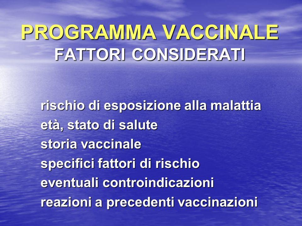 PROGRAMMA VACCINALE FATTORI CONSIDERATI rischio di esposizione alla malattia rischio di esposizione alla malattia età, stato di salute età, stato di s
