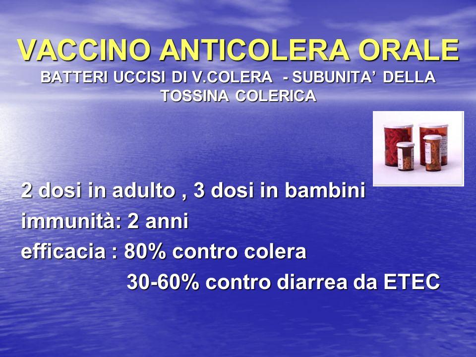 VACCINO ANTICOLERA ORALE BATTERI UCCISI DI V.COLERA - SUBUNITA DELLA TOSSINA COLERICA 2 dosi in adulto, 3 dosi in bambini immunità: 2 anni efficacia :
