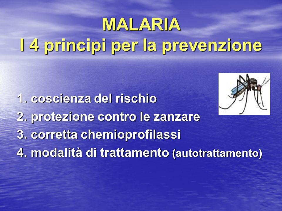 MALARIA I 4 principi per la prevenzione 1. coscienza del rischio 1. coscienza del rischio 2. protezione contro le zanzare 2. protezione contro le zanz
