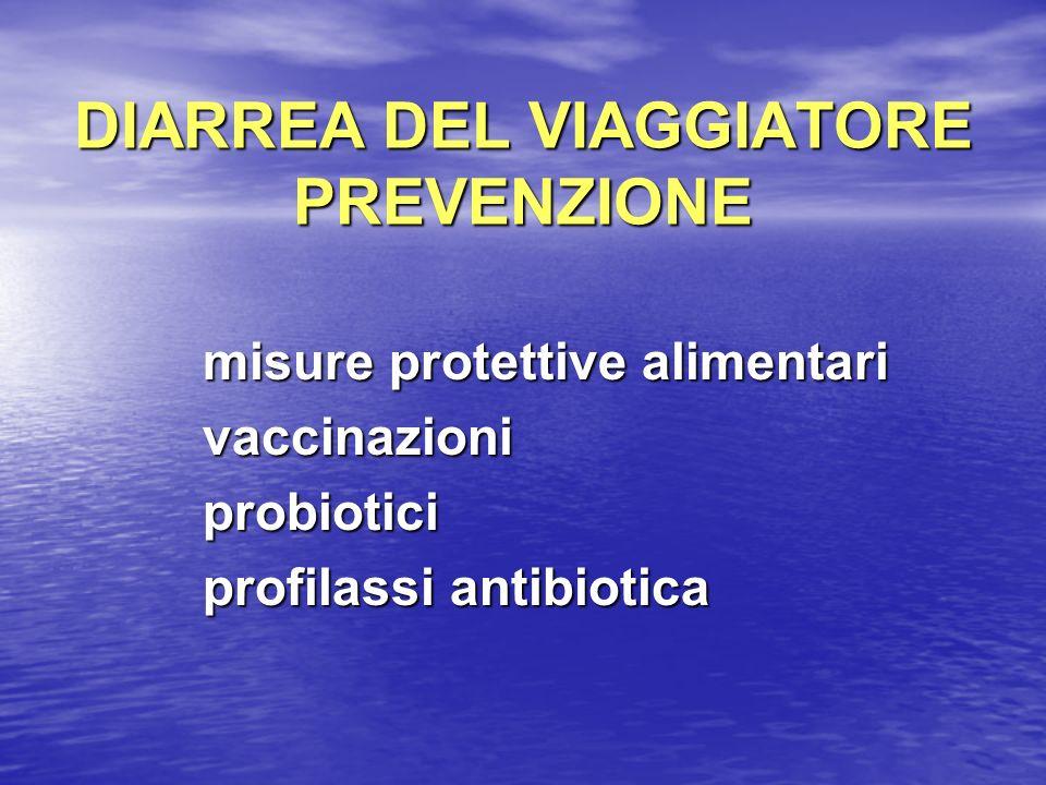 DIARREA DEL VIAGGIATORE PREVENZIONE misure protettive alimentari misure protettive alimentari vaccinazioni vaccinazioni probiotici probiotici profilas