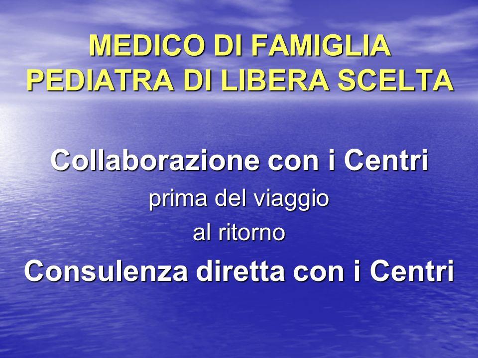 MEDICO DI FAMIGLIA PEDIATRA DI LIBERA SCELTA Collaborazione con i Centri prima del viaggio al ritorno Consulenza diretta con i Centri