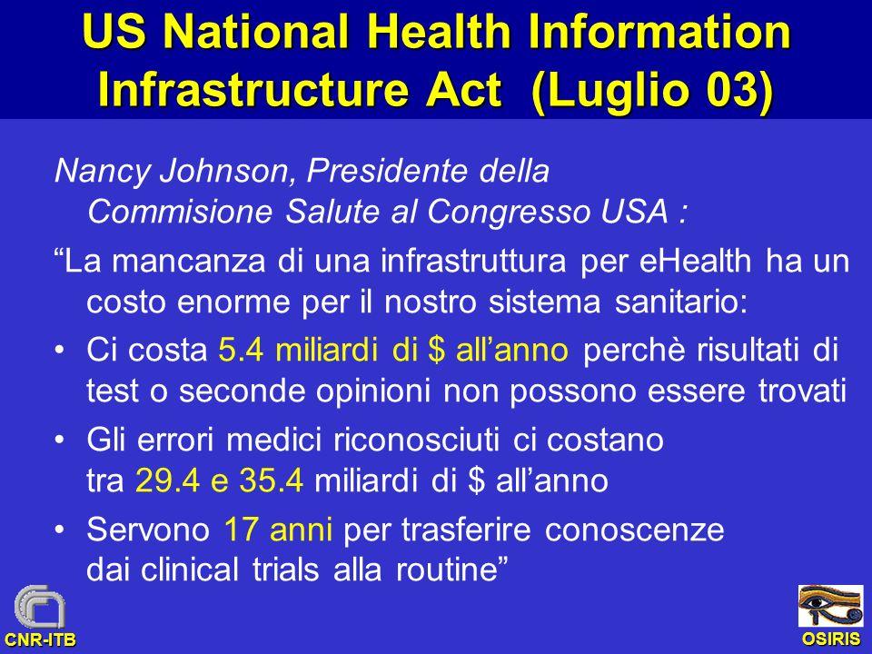 OSIRIS CNR-ITB US National Health Information Infrastructure Act (Luglio 03) Nancy Johnson, Presidente della Commisione Salute al Congresso USA : La m