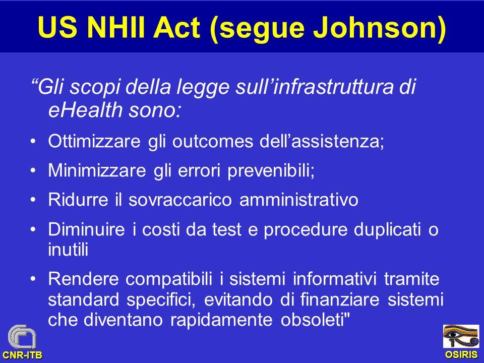 OSIRIS CNR-ITB US NHII Act (segue Johnson) Gli scopi della legge sullinfrastruttura di eHealth sono: Ottimizzare gli outcomes dellassistenza; Minimizz