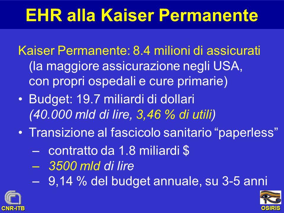 OSIRIS CNR-ITB EHR alla Kaiser Permanente Kaiser Permanente: 8.4 milioni di assicurati (la maggiore assicurazione negli USA, con propri ospedali e cur