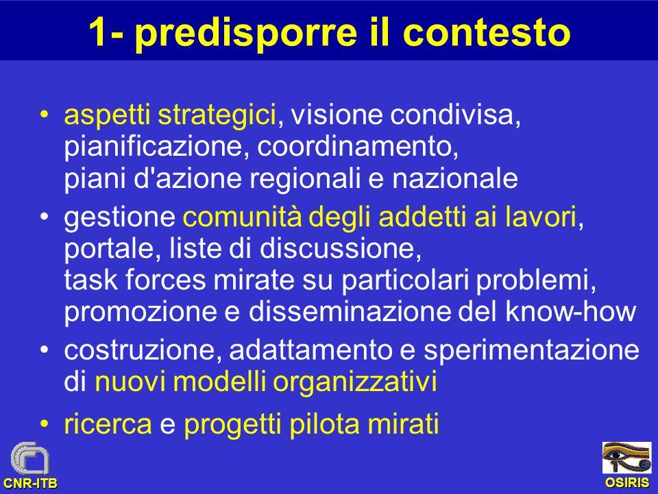 OSIRIS CNR-ITB 1- predisporre il contesto aspetti strategici, visione condivisa, pianificazione, coordinamento, piani d'azione regionali e nazionale g