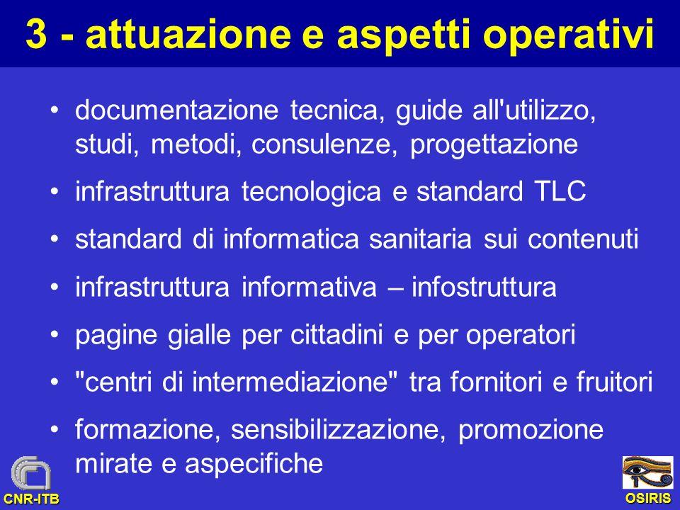 OSIRIS CNR-ITB 3 - attuazione e aspetti operativi documentazione tecnica, guide all'utilizzo, studi, metodi, consulenze, progettazione infrastruttura