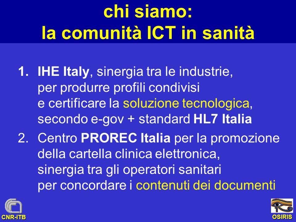 OSIRIS CNR-ITB chi siamo: la comunità ICT in sanità 1.IHE Italy, sinergia tra le industrie, per produrre profili condivisi e certificare la soluzione