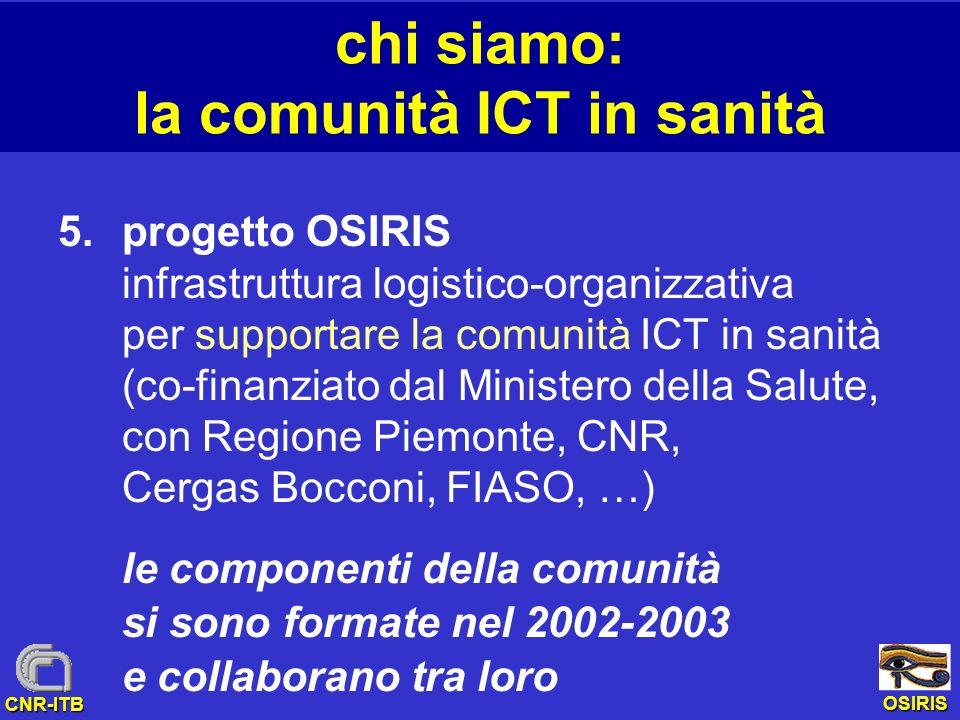 OSIRIS CNR-ITB chi siamo: la comunità ICT in sanità 5.progetto OSIRIS infrastruttura logistico-organizzativa per supportare la comunità ICT in sanità