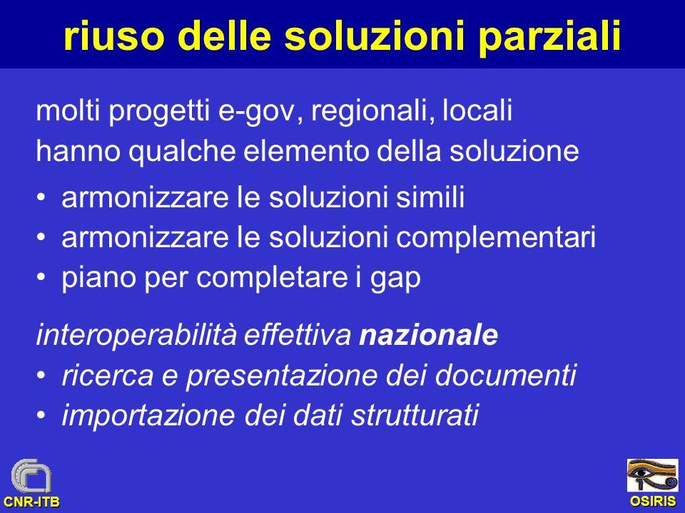 OSIRIS CNR-ITB riuso delle soluzioni parziali molti progetti e-gov, regionali, locali hanno qualche elemento della soluzione armonizzare le soluzioni