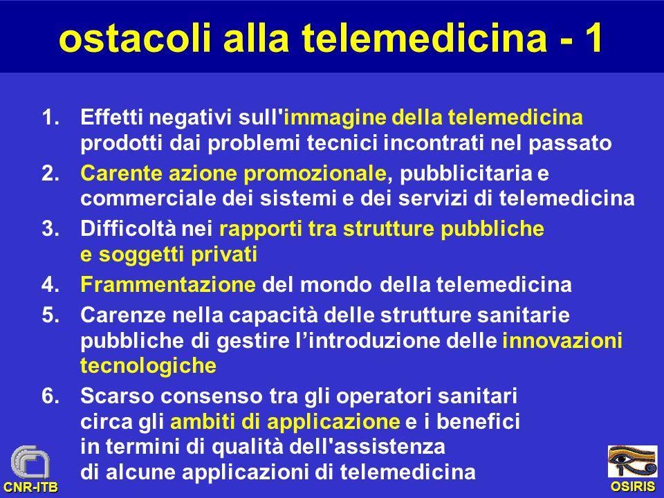 OSIRIS CNR-ITB ostacoli alla telemedicina - 1 1.Effetti negativi sull'immagine della telemedicina prodotti dai problemi tecnici incontrati nel passato