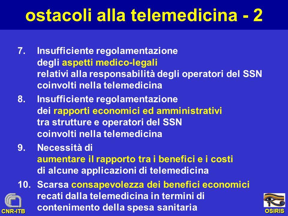 OSIRIS CNR-ITB ostacoli alla telemedicina - 2 7.Insufficiente regolamentazione degli aspetti medico-legali relativi alla responsabilità degli operator