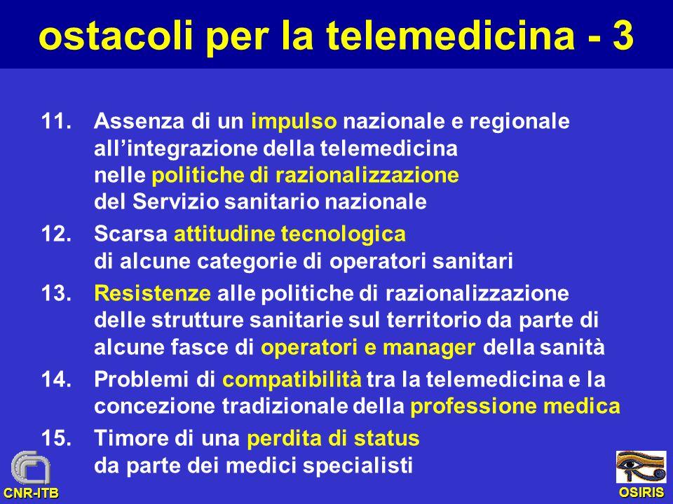 OSIRIS CNR-ITB ostacoli per la telemedicina - 3 11.Assenza di un impulso nazionale e regionale allintegrazione della telemedicina nelle politiche di r