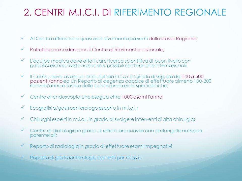 Al Centro afferiscono quasi esclusivamente pazienti della stessa Regione; Potrebbe coincidere con il Centro di riferimento nazionale; Léquipe medica d