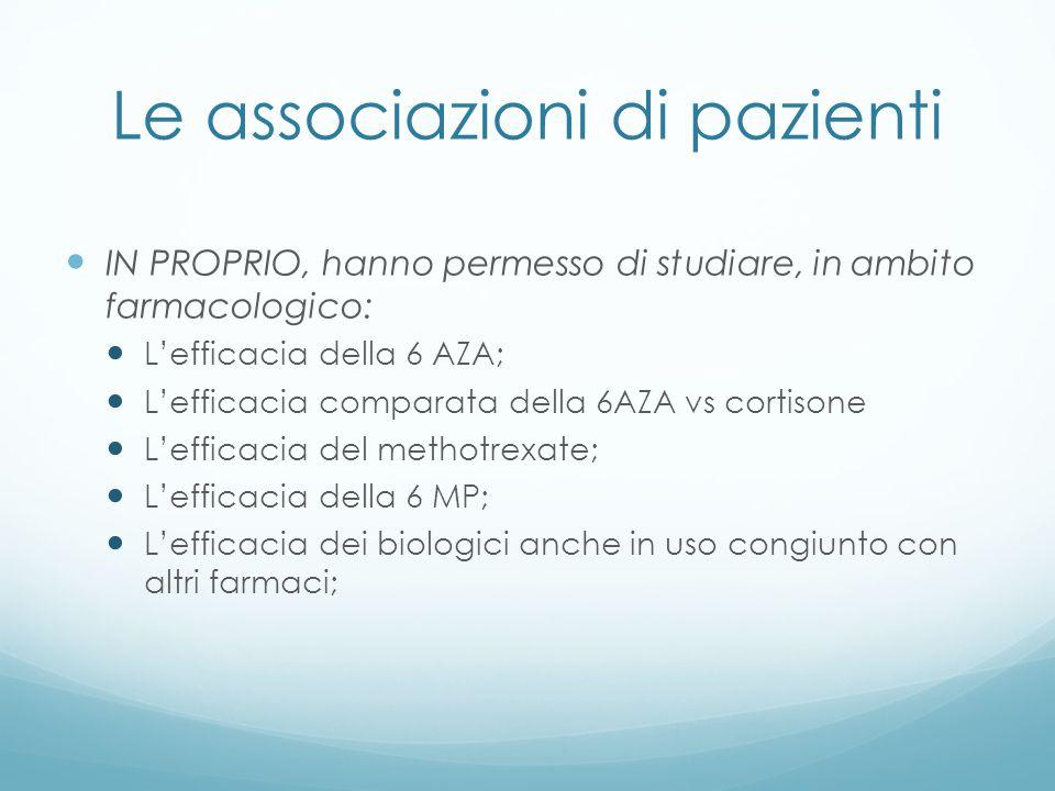 Le associazioni di pazienti IN PROPRIO, hanno permesso di studiare, in ambito farmacologico: Lefficacia della 6 AZA; Lefficacia comparata della 6AZA v