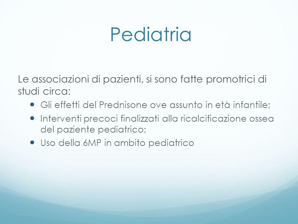 Pediatria Le associazioni di pazienti, si sono fatte promotrici di studi circa: Gli effetti del Prednisone ove assunto in età infantile; Interventi pr