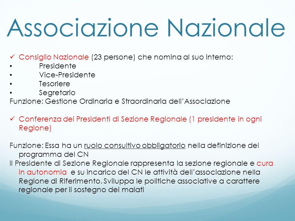 Associazione Nazionale Consiglio Nazionale (23 persone) che nomina al suo interno: Presidente Vice-Presidente Tesoriere Segretario Funzione: Gestione