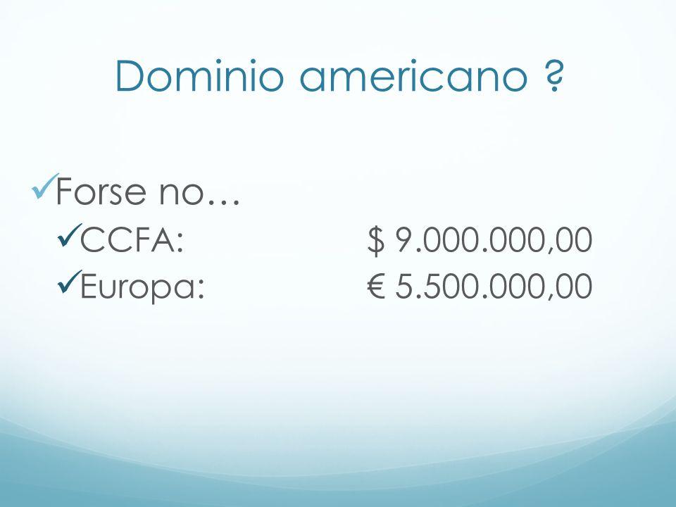 Dominio americano ? Forse no… CCFA: $ 9.000.000,00 Europa: 5.500.000,00