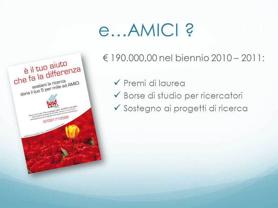 e…AMICI ? 190.000,00 nel biennio 2010 – 2011: Premi di laurea Borse di studio per ricercatori Sostegno ai progetti di ricerca