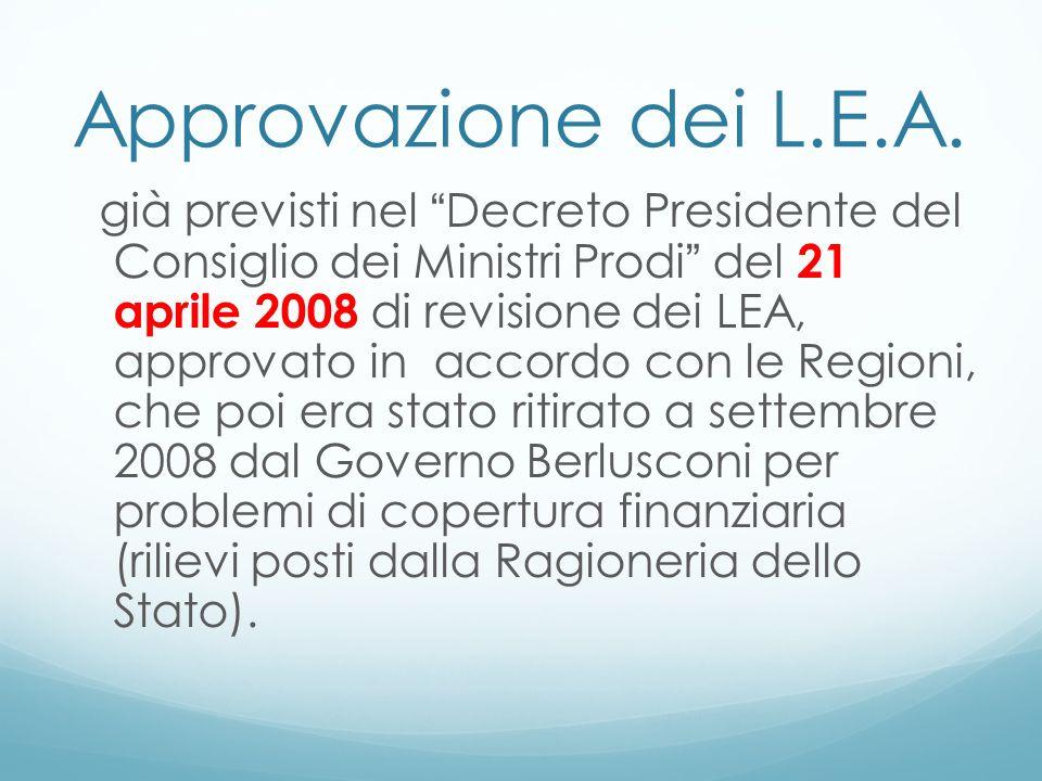 Approvazione dei L.E.A. già previsti nel Decreto Presidente del Consiglio dei Ministri Prodi del 21 aprile 2008 di revisione dei LEA, approvato in acc