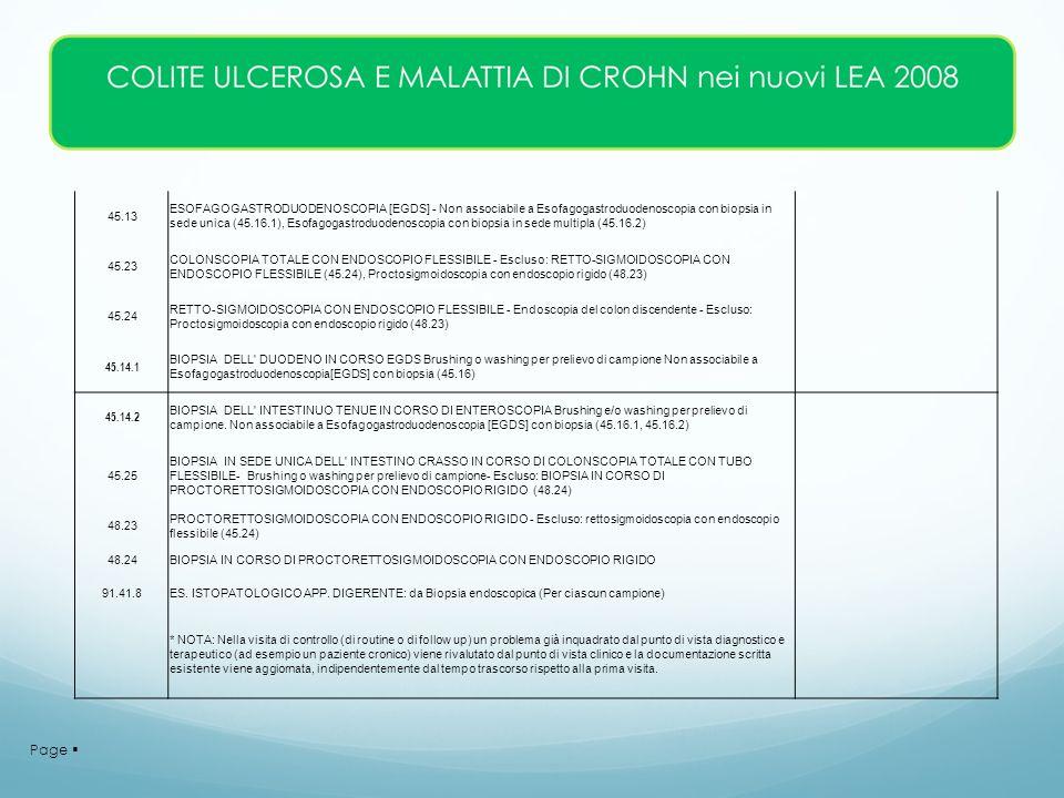 Page 45.13 ESOFAGOGASTRODUODENOSCOPIA [EGDS] - Non associabile a Esofagogastroduodenoscopia con biopsia in sede unica (45.16.1), Esofagogastroduodenos