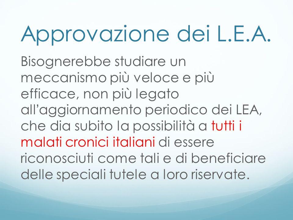 Approvazione dei L.E.A. Bisognerebbe studiare un meccanismo più veloce e più efficace, non più legato all aggiornamento periodico dei LEA, che dia sub