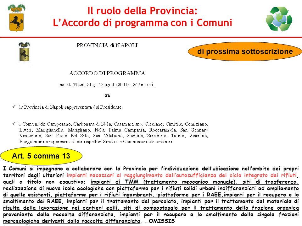 di prossima sottoscrizione Il ruolo della Provincia: LAccordo di programma con i Comuni I Comuni si impegnano a collaborare con la Provincia per lindi