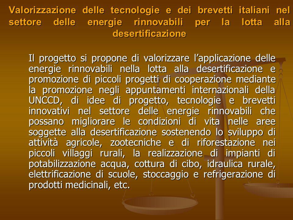 Valorizzazione delle tecnologie e dei brevetti italiani nel settore delle energie rinnovabili per la lotta alla desertificazione Soggetto attuatore: ENEA Soggetto attuatore: ENEA SAL % al 26/01/2006: SAL % al 26/01/2006: Proroga richiesta in giorni: Proroga richiesta in giorni: