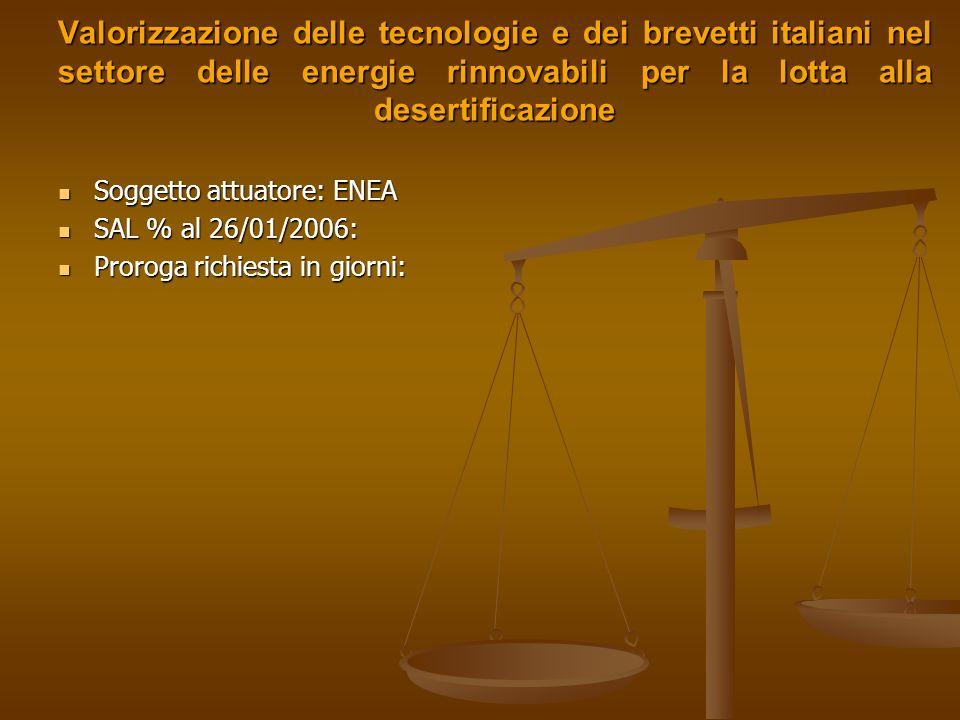 Valutazione dello stato ed evoluzione della copertura vegetale in Italia mediante limpiego di immagini telerilevate Soggetto attuatore: ENEA Soggetto attuatore: ENEA SAL % al 26/01/2006: SAL % al 26/01/2006: Proroga richiesta in giorni: Proroga richiesta in giorni: