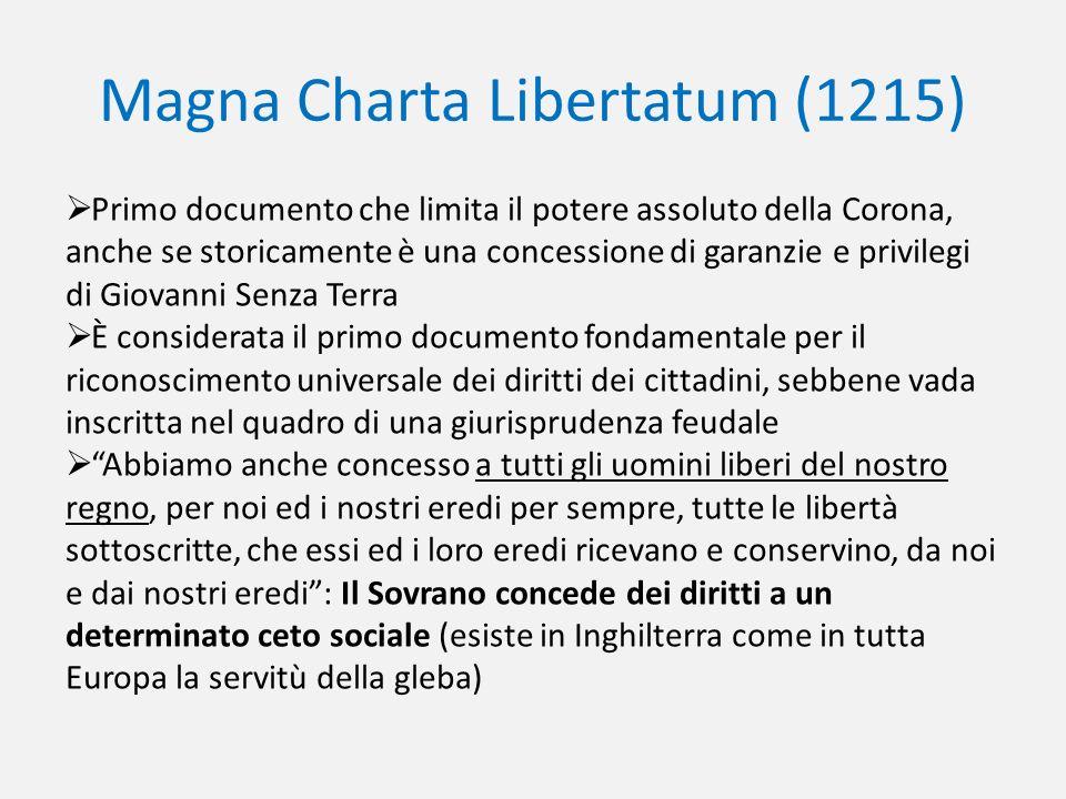 Magna Charta Libertatum (1215) Primo documento che limita il potere assoluto della Corona, anche se storicamente è una concessione di garanzie e privi