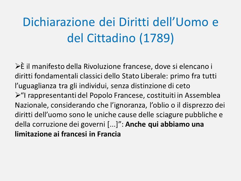 Dichiarazione dei Diritti dellUomo e del Cittadino (1789) È il manifesto della Rivoluzione francese, dove si elencano i diritti fondamentali classici