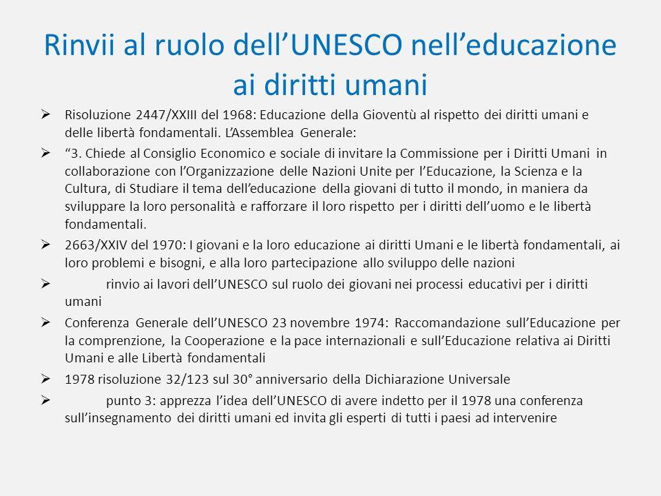 Rinvii al ruolo dellUNESCO nelleducazione ai diritti umani Risoluzione 2447/XXIII del 1968: Educazione della Gioventù al rispetto dei diritti umani e