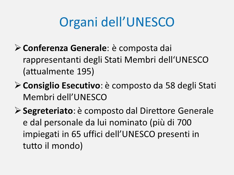 Organi dellUNESCO Conferenza Generale: è composta dai rappresentanti degli Stati Membri dellUNESCO (attualmente 195) Consiglio Esecutivo: è composto d